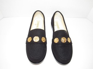 Chanel Gold Coin Classic Loafers Mocassins Cc Logo Black Flats