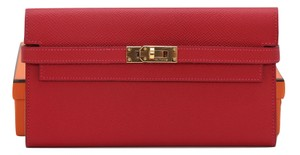 Hermès Hermes KELLY Epsom Leather ROUGE CASAQUE Red Long Wallet GOLD Clutch