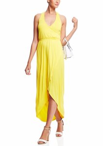 Yellow Maxi Dress by Other Couture Sleeveless Crisscross Hi-lo Maxi