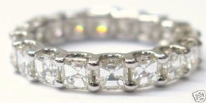 Other Fine Asscher Cut Diamond Eternity Ring 4.75Ct White Gold 14KT Sz 8.5