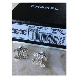 Chanel Chanel Classic CC Silver Crystal Moscova Earrings