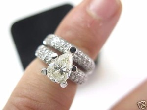 jfa Fine JFA 18Kt Pear Shape Diamond White Gold Engagement Ring Set 2.54CT