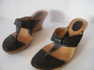 Børn Cork Leather Straps Leather Insoles Brown Wedges