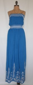 BLUE Maxi Dress by Jaloux Strapless Embroidered Summer Eyelet Smocked