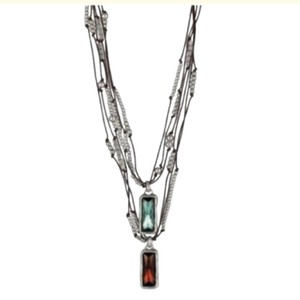 UNOde50 Double Swarovski crystal leather necklace