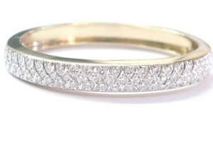 Other 14KT Round Cut Diamond 3-Row Yellow Gold WIDE Bangle Bracelet 4.55CT