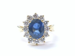 Other 18Kt Gem Sapphire Diamond Anniversary Jewelry Ring Yellow Gold 3.86CT