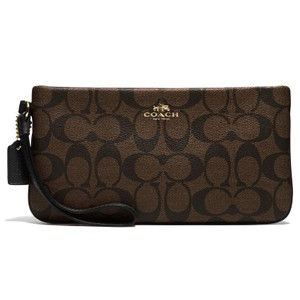 Coach Large Signature Wristlet in Brown/Black