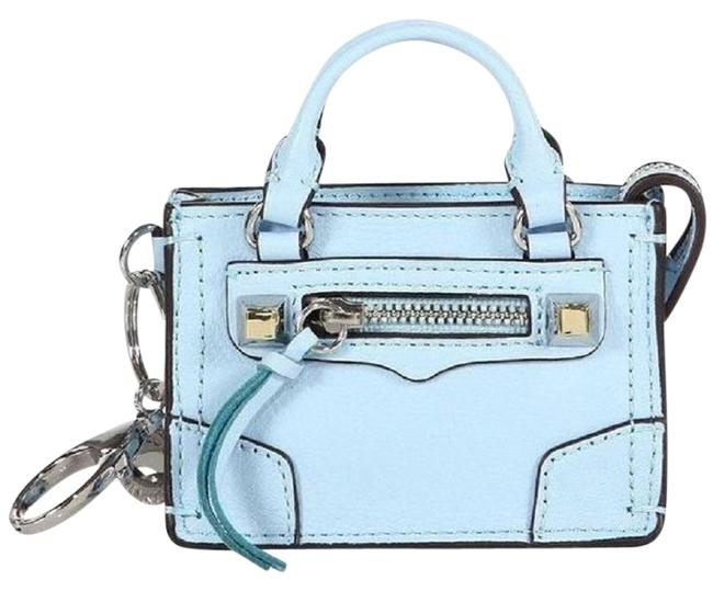 "Item - ""Regan"" Satchel Key Fob City-like Light Blue Leather Wristlet"