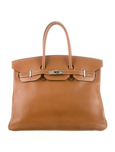 Hermès Birkin Clemence Birkin 35 Brown Satchel in Cigare