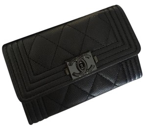 Chanel BINB 17S So Black Quilted Boy Flap Card Holder Case Coin Purse Wallet