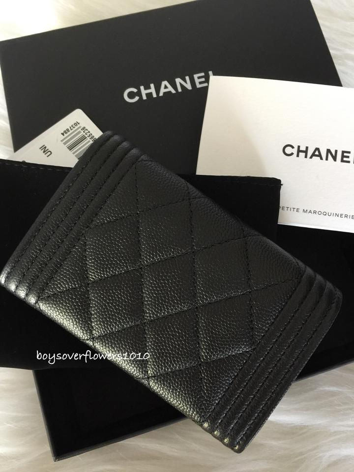 Chanel Black Boy Binb 17s So Quilted Flap Card Holder Case Coin ...