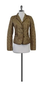 DKNY Tan Feather Print Silk Quilted Jacket