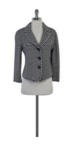 St. John White Navy Polka Dot Knit Jacket