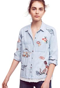 Anthropologie Jean Cute Embroidered Button Down Shirt blue