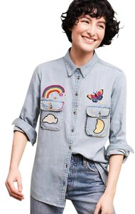 Anthropologie Patched Rainbow Butterfly Cute Garden Button Down Shirt blue