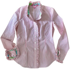 Lilly Pulitzer Preppy Candy Stripe Pink And White Button Down Shirt Pink stripe