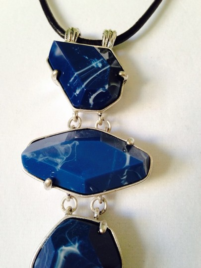 Kenneth Cole Blue Geometric Stone Silver Long Necklace