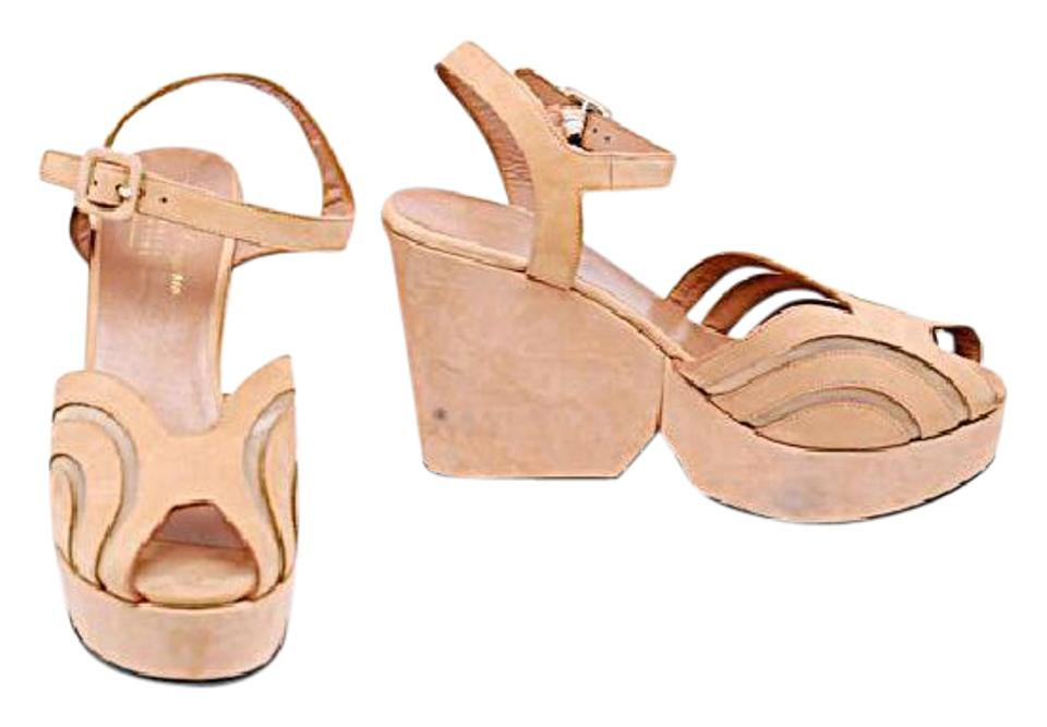 254a02e21a72 Robert Clergerie Apricot Suede Platform Ankle Strap Heels W Mesh ...