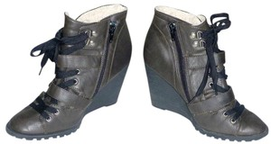 Candie's Side Zip Faux Leather Faux Fur Buckles Gray Boots