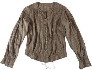 Isabel Marant Ruched Pintucked Top Taupe