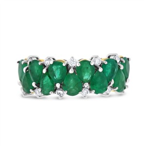Other 2.42 Ct. Natural Diamonds & Green Emerald Fashion Ring in Solid 18k