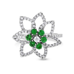 Other 0.90 Ct. Natural Diamond & Russian Chrome Diopside Flower Star Ring