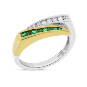 Other 0.40 Ct. Natural Diamond & Emerald Bypass Fancy Ring in Solid 14k Two
