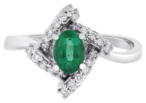 Other 1.20 Ct. Natural Diamond & Green Emerald Fancy Twist Ring in Solid 14k