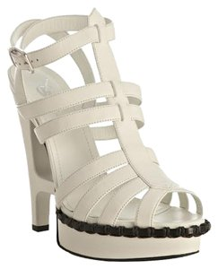 Saint Laurent Platform Sandal White Leather Sandals