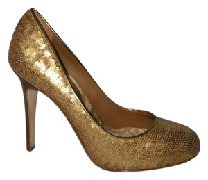 Chanel Heels Sequin Gold Pumps