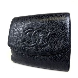Chanel caviar CC Caviar bifold lambskin leather small compact snap wallet
