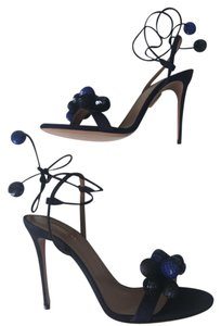 Aquazzura Open Toe Sandal Ankle Strap Pom Pom Navy Blue Pumps