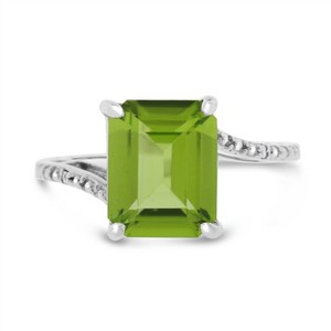 Other 3.26 Ct. Natural Peridot & Diamond Fancy Cocktail Ring In Solid 10k