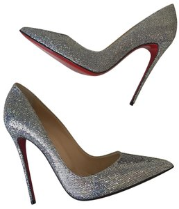 Christian Louboutin Sokate Kate Glitter Stiletto Pointed Toe Silver Pumps