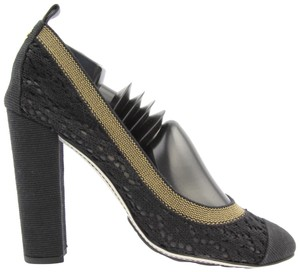 Chanel Stretch Spirit Crochet Lace Black Pumps