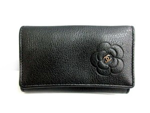 Chanel Chanel Camellia CC Black Leather 6 Ring Key holder key case