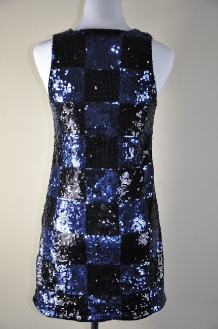 Alice + Olivia Sequin Navy Checkered Size Xs Dress