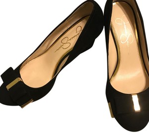 Jessica Simpson Black Gold Wedges