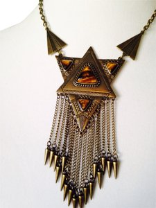 Tigers Eye Triangles With Fringe Statement Necklace