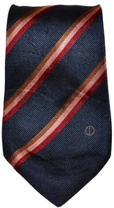 Alfred Dunhill Dunhill Navy Blue with Pink Stripes 100% Silk Designer Necktie Skinny Tie Made In Italy Authentic