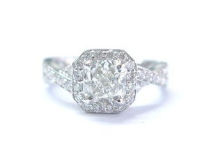 Other Fine Cushion Cut Diamond Solitaire With Accent Engagement Ring 1.57Ct