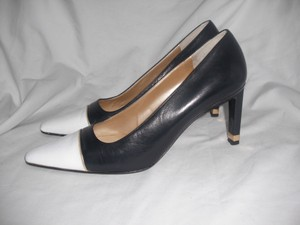 St. John Leather Color Block Black /White Pumps