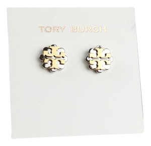 Tory Burch Tory Burch Logo Flower Two-Tone Silver and Gold Stud Earrings