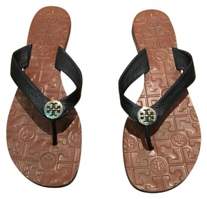Tory Burch Flip Flops Leather Black Sandals
