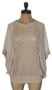 Anthropologie Sheer Willow & Clay Relaxed Fit Sparkle Top BEIGE