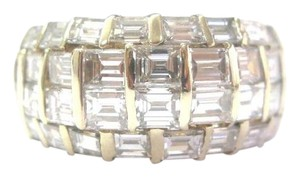 Other Fine Baguette Diamond 4-Row Yellow Gold Jewelry Ring 4.85Ct E-VVS