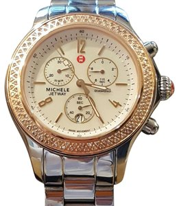 Michele Jetway Two-tone Rose Gold and Silver Chronograph Watch