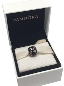PANDORA Pandora mickey black red hearts charm Disney in original gift pouch