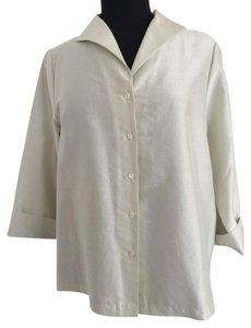 Eileen Fisher 1x 2x 3x Xxl Button Down Shirt Bone